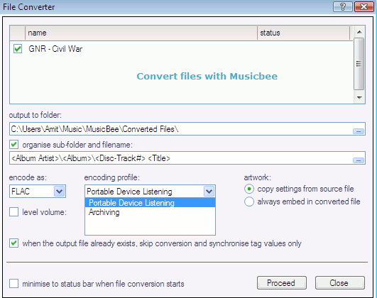 Convert files in portable audio formats