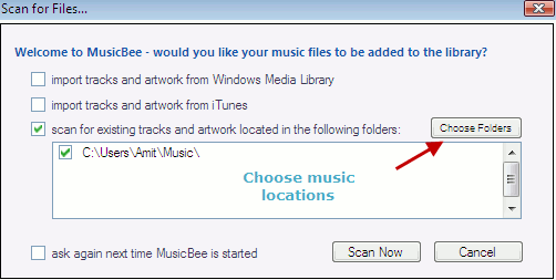 scan songs and audio in computer with musicbee