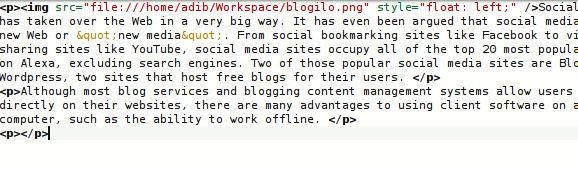 blogilo html editor
