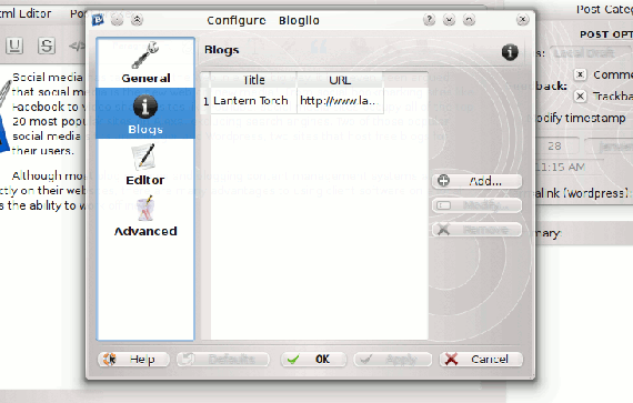 Blogilo configuration window