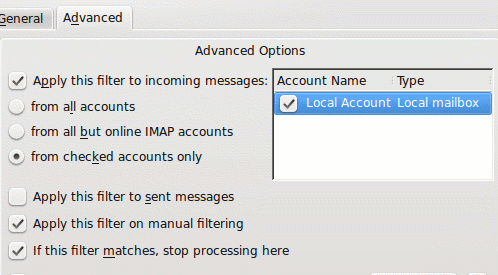 kmail filters advanced tab