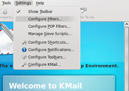 kmail menu settings filters