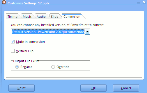 Choose the version of Powerpoint in Leawo video convertor