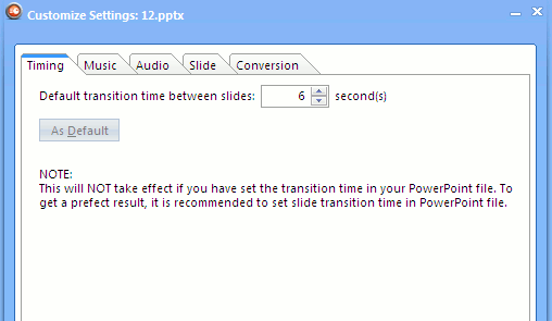 Set the timing, audio and slide transition settings in Leawo video convertor