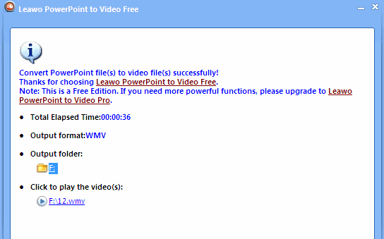 Convert Powerpoint to Video set up completed