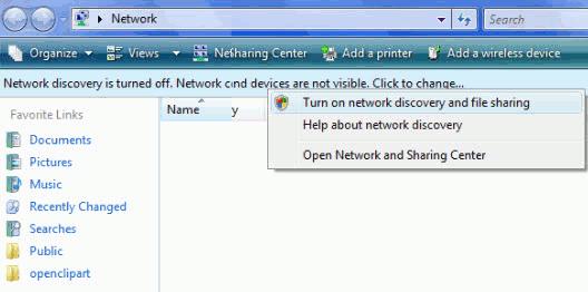 Turn on Network sharing in Windows vista