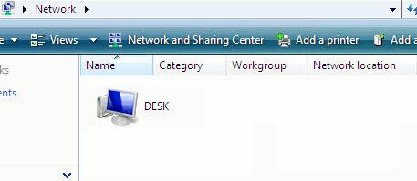 Networked shared folder in Windows Vista