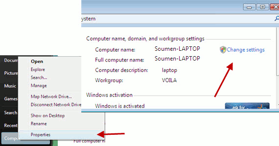 Workgroup properties in Windows Vista