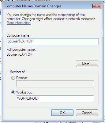 Change the Workgroup name in Windows Vista