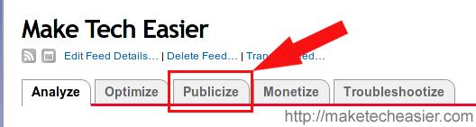 Publicize tab in Feedburner