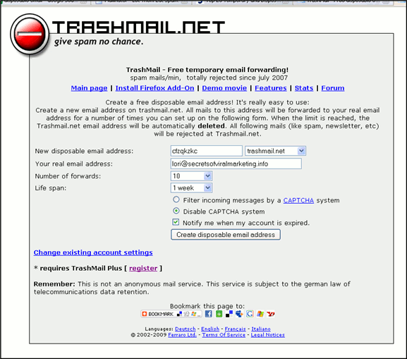 Trashmail.net - Main screen
