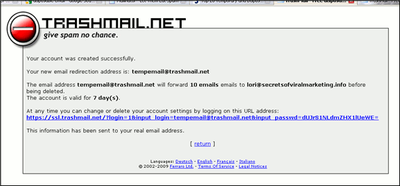 Trashmail.net - Success screen