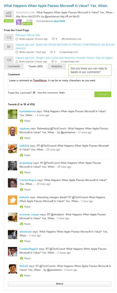 t vs t - tweeetmeme results