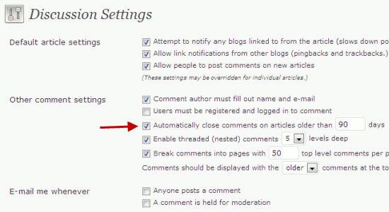 Close Comments on Older WordPress posts to reduce Spam