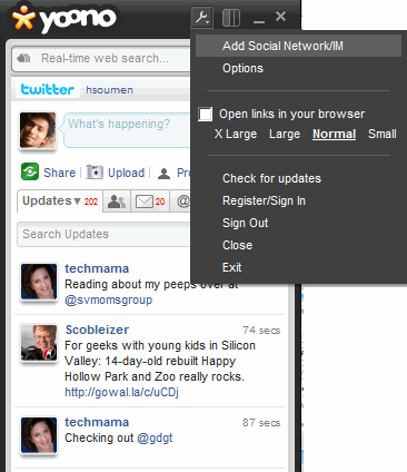 Add more social accounts in Yoono Desktop