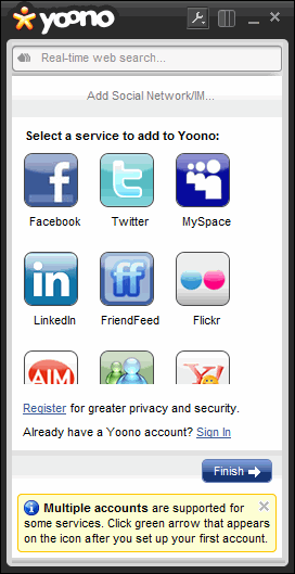 Add social networking account in the Yoono Desktop