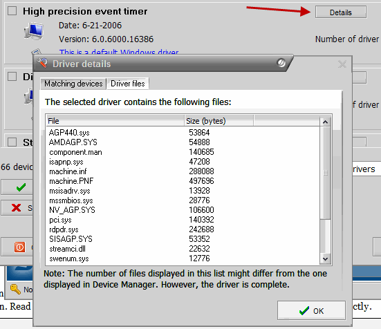 Driver files details and Device information