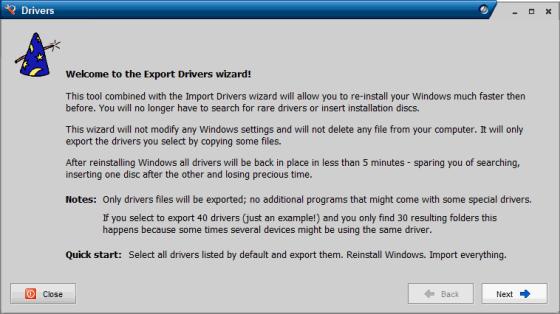 Export Drivers wizard in Drivermax