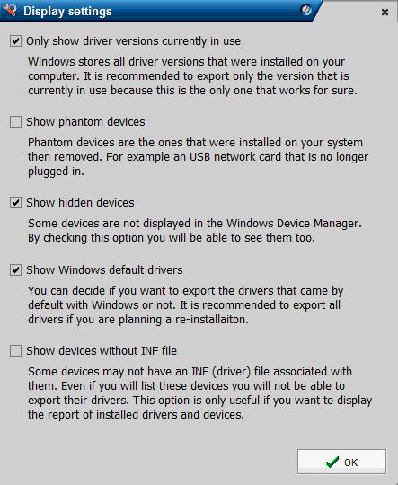 Drivermax program settings