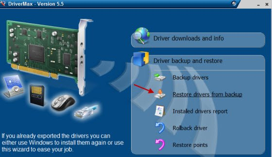 Restore Windows drivers from backup files
