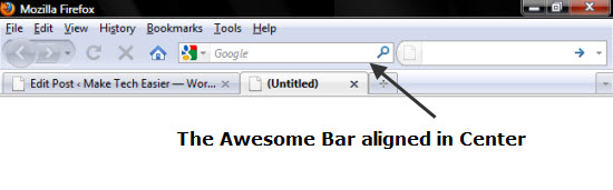 Firefox Awesome bar in Center