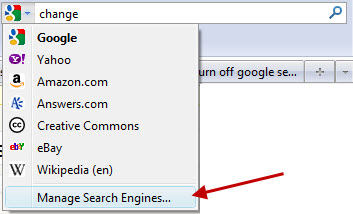 Manage Search Engines in Firefox Awesome Bar
