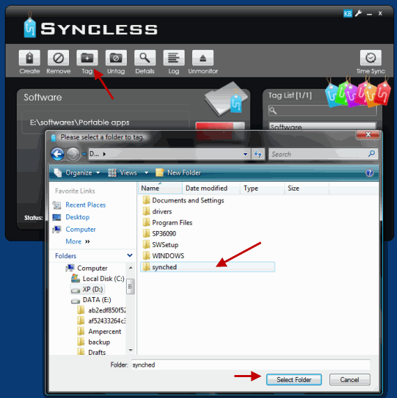 Tag the destination folder in Syncless program