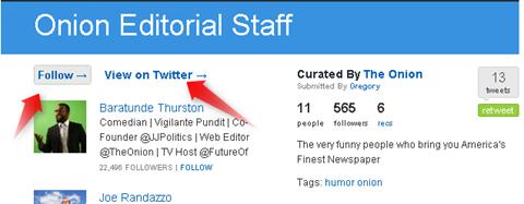 twitter list - listorious follow options