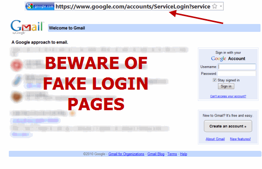 Check for Fake Login Pages of Gmail