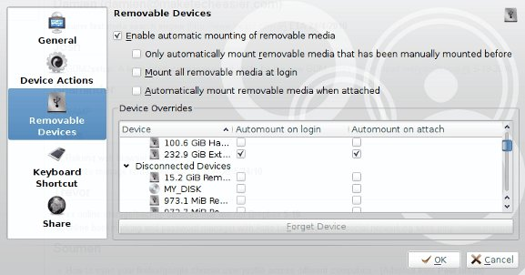 Device Notifier removable devices settings