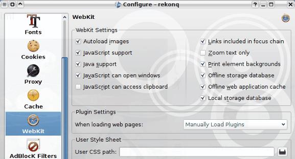 rekonq Webkit settings
