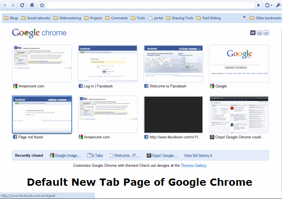 The default New Tab page of Google Chrome