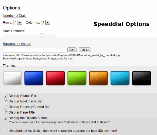 Speed dial options page