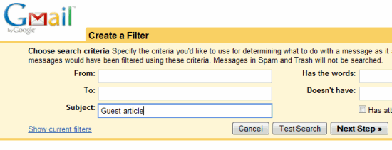 Choose the rules for Gmail filter