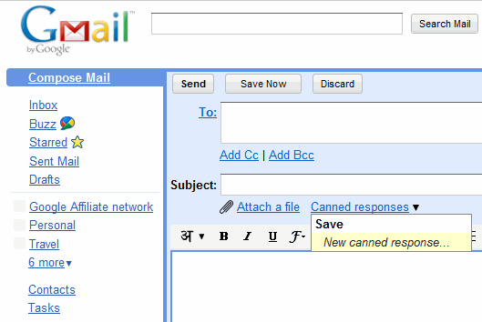 Create New Canned Response in Gmail