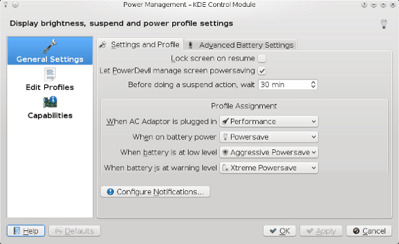 PowerDevil configuration