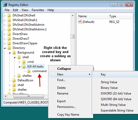 Create Subkey of a registry Key