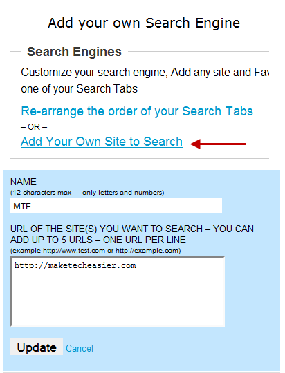 Add your own search engine to Favitt