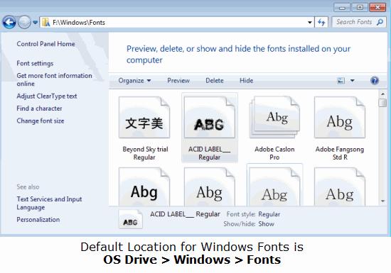 Default Location of Windows Fonts