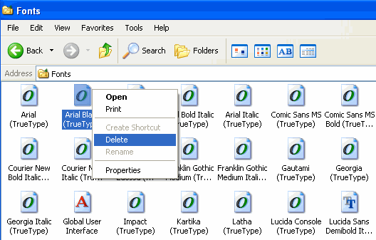 Delete Fonts in Windows XP