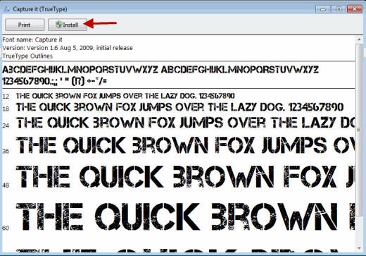 Install Fonts in Windows7 and Windows Vista