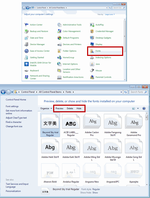 Preview, delete or hide fonts in Windows 7 and Windows Vista
