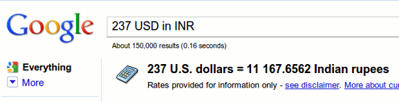 Use Google SpecialSearch For converting Currencies