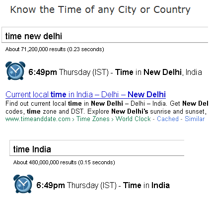 Google Special Search - Know Time of any City or Country