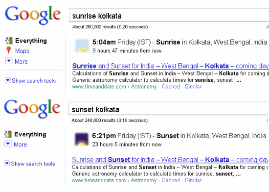 Google special search Sunrise and Sunset timings