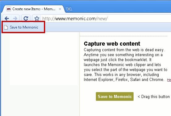 Memonic Bookmarklet