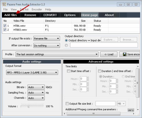 Add Video Files For Audio Conversion