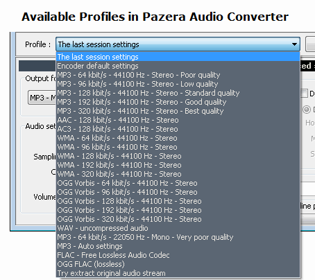 Select Audio Profiles in Pazera Audio Convertor