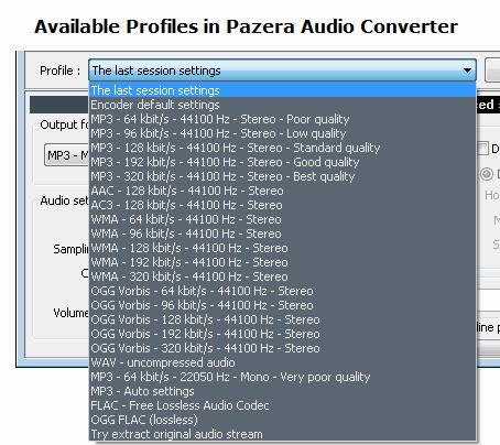 Select Audio Profiles in Pazera Audio Convertor