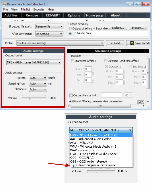 Select Output Formt for Audio Conversion